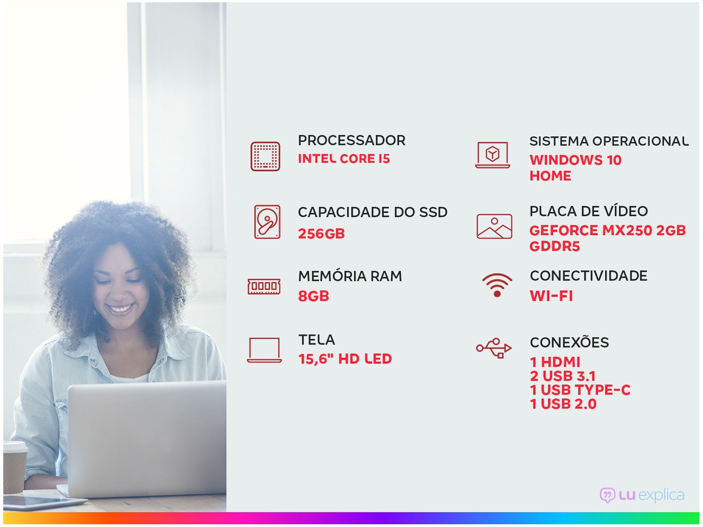"Notebook Acer Aspire 5 A515-54G-53GP Intel Core i5 - 8GB 256GB SSD 15,6"" Placa NVIDIA 2GB Windows 10 - Bivolt - 1"
