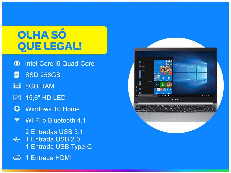 """Notebook Acer Aspire 5 A515-54-587L Intel Core i5 - Quad-Core 8GB 256GB SSD 15,6"""" Windows 10 - Bivolt - 1"""