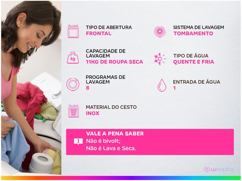 Lavadora de Roupas Electrolux Premium Care LFE11 - 11kg Cesto Inox 8 Programas de Lavagem - 220 V - 2
