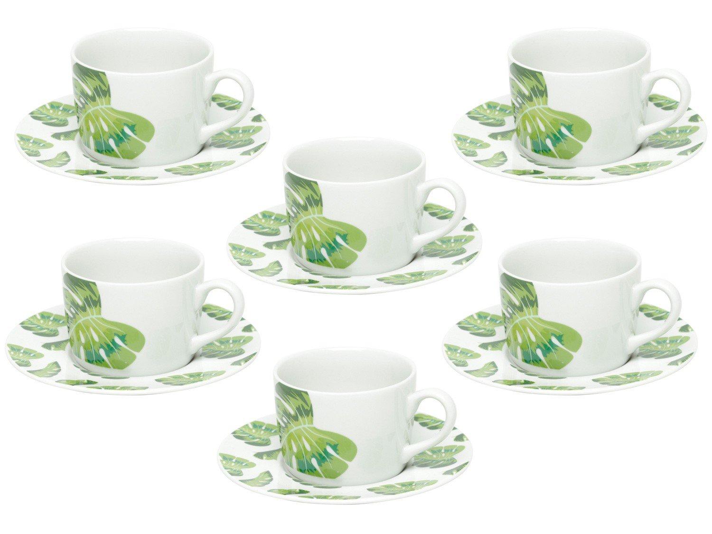 Jogo de Xícaras de Chá Porcelana 200ml Bon Gourmet - Folhas 6 Peças