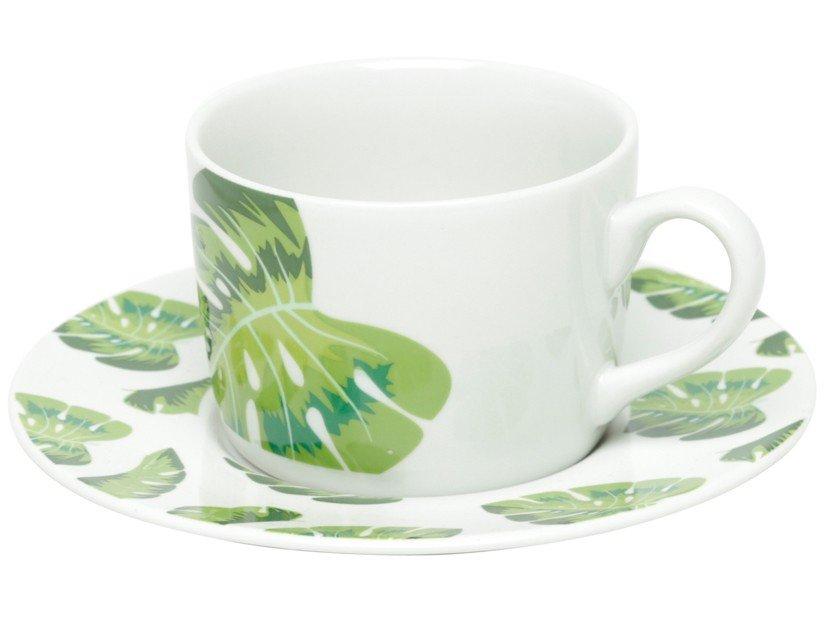 Jogo de Xícaras de Chá Porcelana 200ml Bon Gourmet - Folhas 6 Peças - 1