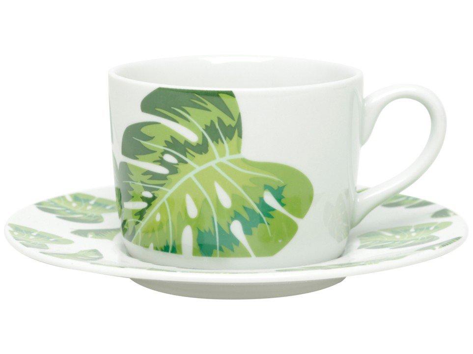 Jogo de Xícaras de Chá Porcelana 200ml Bon Gourmet - Folhas 6 Peças - 2