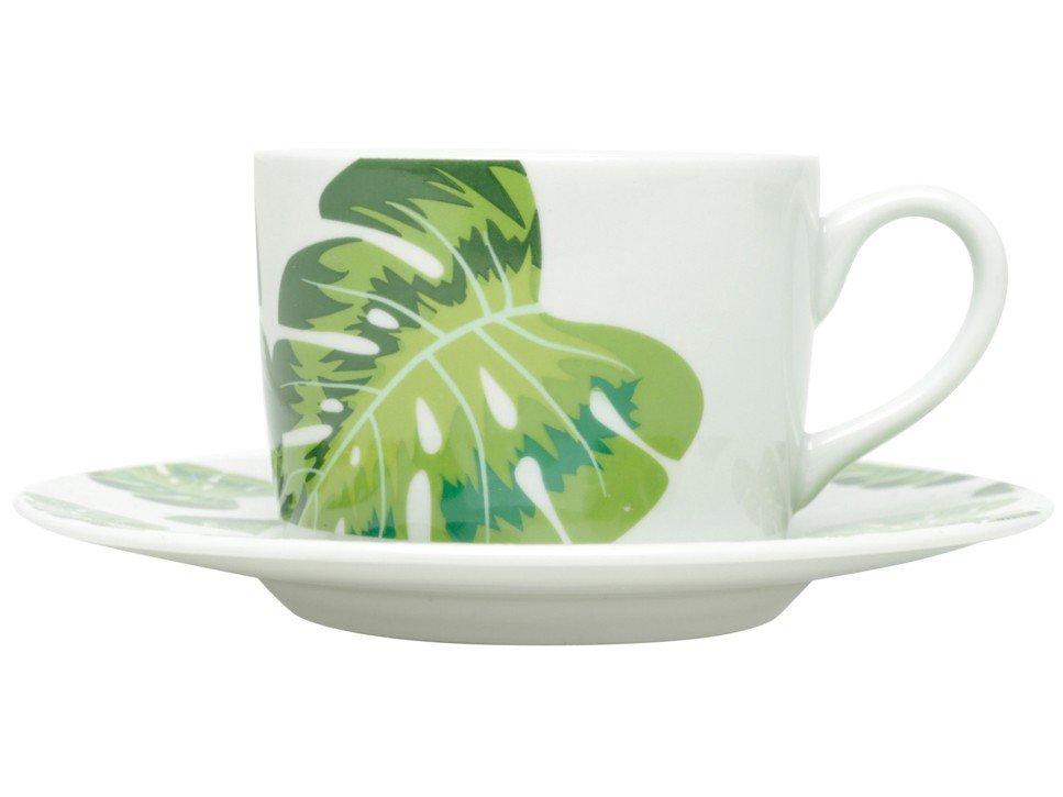 Jogo de Xícaras de Chá Porcelana 200ml Bon Gourmet - Folhas 6 Peças - 3