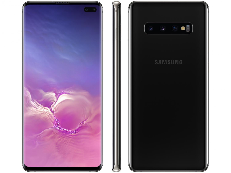 "Smartphone Samsung Galaxy S10+ 128GB Ceramic Black - Octa-Core 8GB RAM 6,4"" Câm. Tripla + Selfie Dupla - Bivolt"