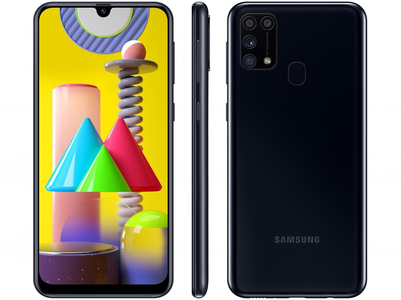"Smartphone Samsung Galaxy M31 128GB Preto 4G - 6GB RAM Tela 6,4"" Câm. Quádrupla + Selfie 32MP - Bivolt"