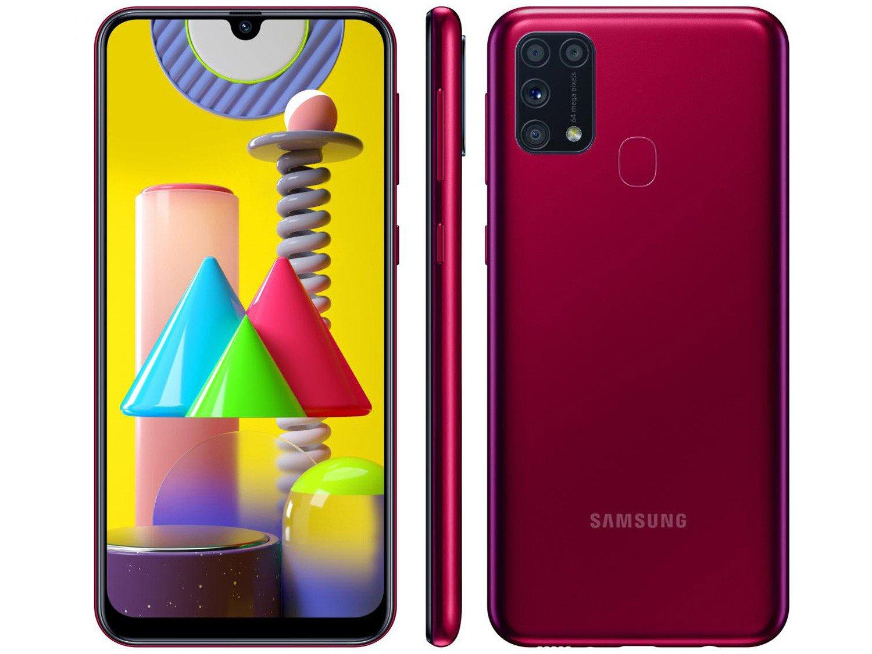 "Smartphone Samsung Galaxy M31 128GB Rosa 4G - 6GB RAM Tela 6,4"" Câm. Quádrupla + Selfie 32MP - Bivolt"