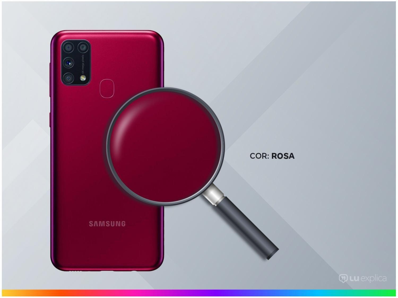 "Smartphone Samsung Galaxy M31 128GB Rosa 4G - 6GB RAM Tela 6,4"" Câm. Quádrupla + Selfie 32MP - Bivolt - 2"