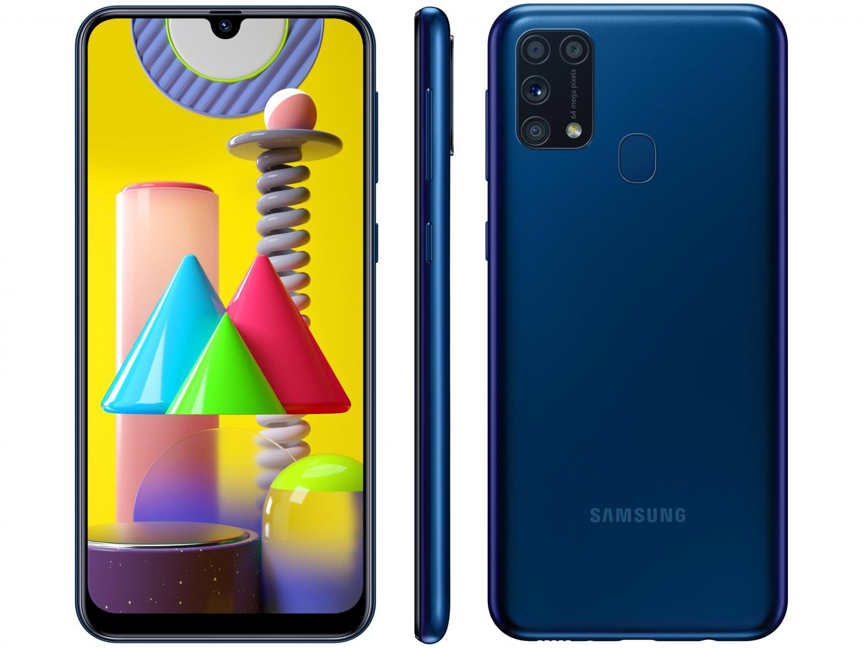 "Smartphone Samsung Galaxy M31 128GB Azul 4G - 6GB RAM Tela 6,4"" Câm. Quádrupla + Selfie 32MP - Bivolt"
