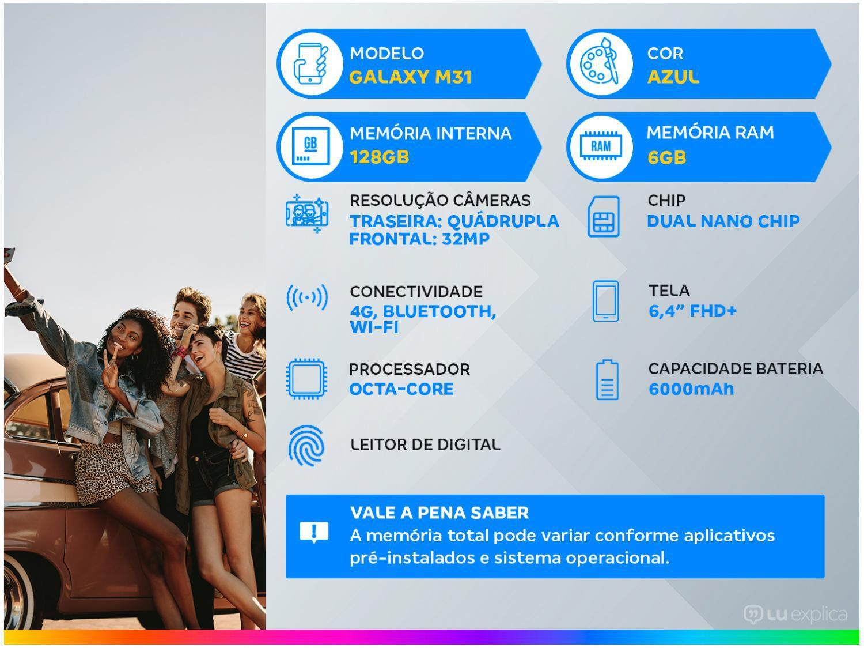"Smartphone Samsung Galaxy M31 128GB Azul 4G - 6GB RAM Tela 6,4"" Câm. Quádrupla + Selfie 32MP - Bivolt - 1"