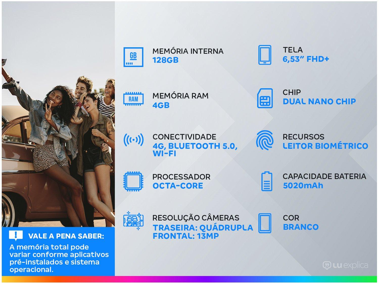 """Smartphone Xiaomi Redmi Note 9 Branco 128GB, Tela de 6,53"""", 4GB de RAM, Câmera Traseira Quádrupla, Android 10 e Processador Octa-Core - 3"""