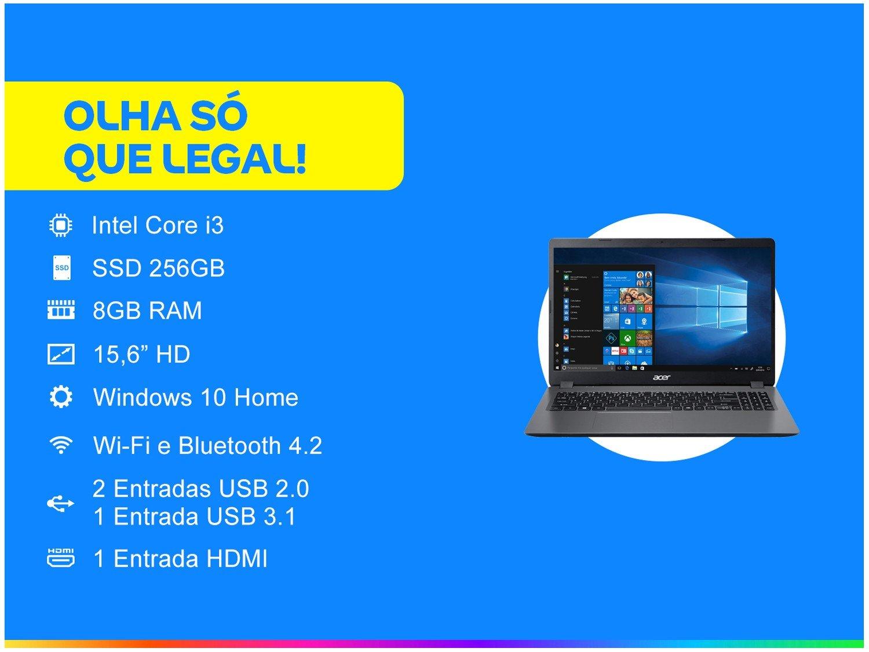 "Notebook Acer Aspire 3 A315-56-3090 Intel Core i3 - 8GB 256GB SSD 15,6"" Windows 10 - Bivolt - 1"
