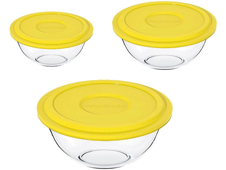 Conjunto de Tigelas Marinex Plus em Vidro com Tampa Amarela – 3 Peças - 1