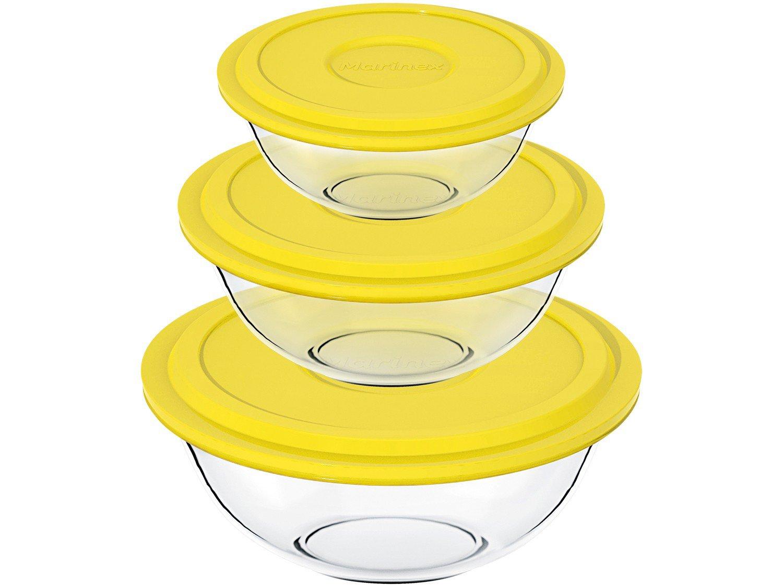 Conjunto de Tigelas Marinex Plus em Vidro com Tampa Amarela – 3 Peças - 2