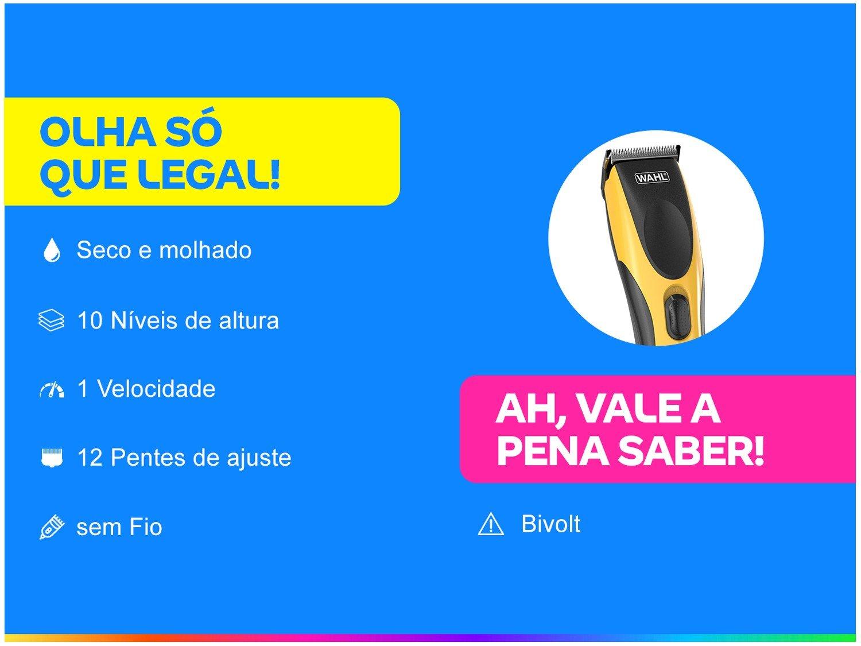 Máquina de Cortar Cabelo Wahl Clipper sem Fio - HairCut & Beard DIY 10 Níveis de Altura - Bivolt - 1