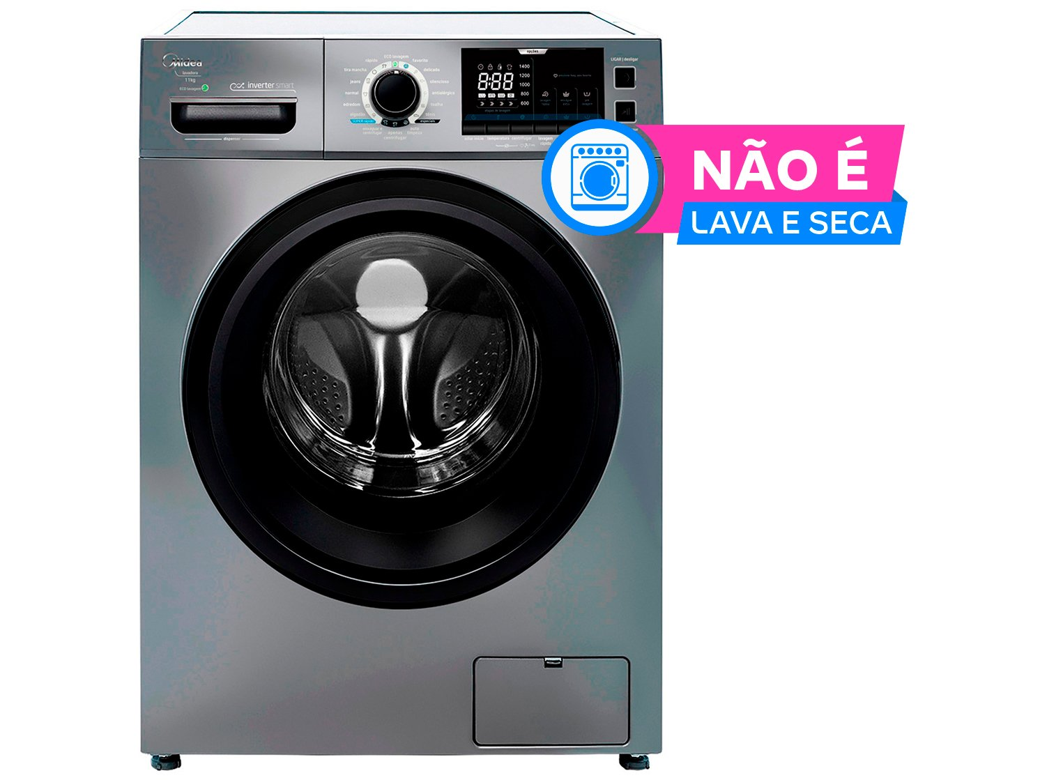 Lavadora de Roupas Midea Storm Wash LFA11X1 - Inverter 11kg Cesto Inox 16 Programas de Lavagem - 110 V - 1
