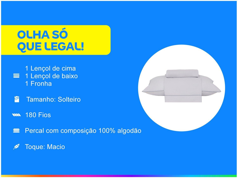 Jogo de Cama Solteiro Buddemeyer Basic Percalle 100% Algodão Percal 180 Fios 3 Peças - Cinza - 3