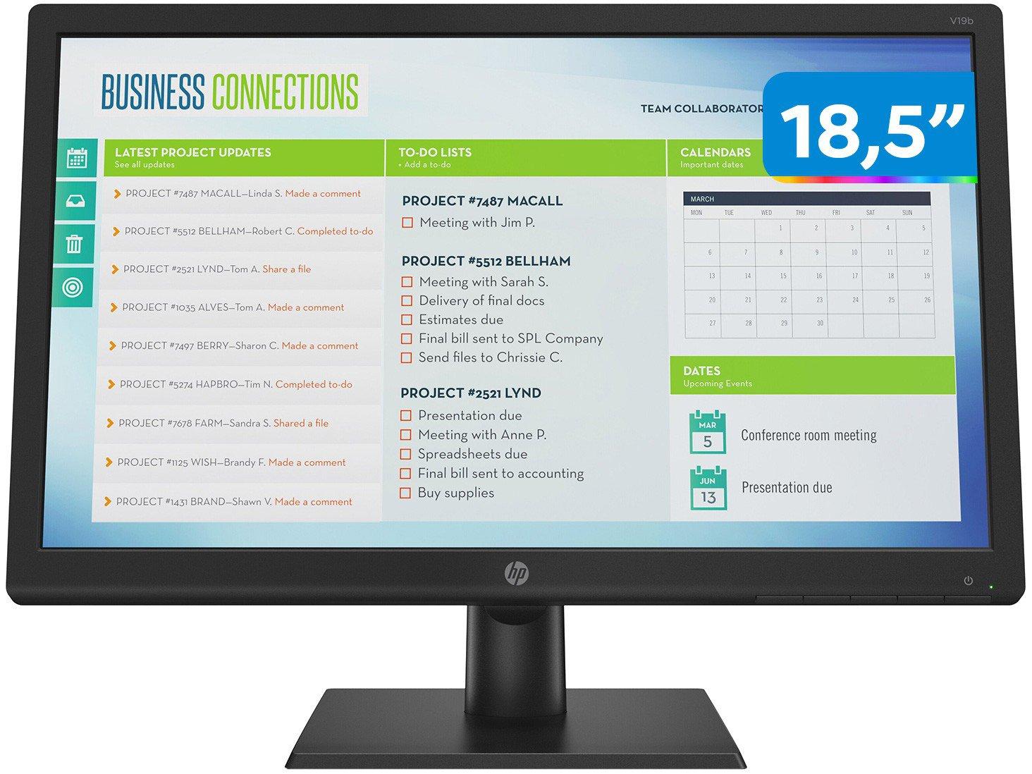"Monitor para PC HP V19B 18,5"" LED TN Widescreen HD - VGA - Bivolt"