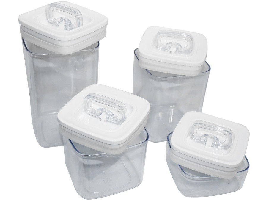 Jogo de Potes de Plástico Hermético Arthi - com Tampa 5116 4 Peças - 4