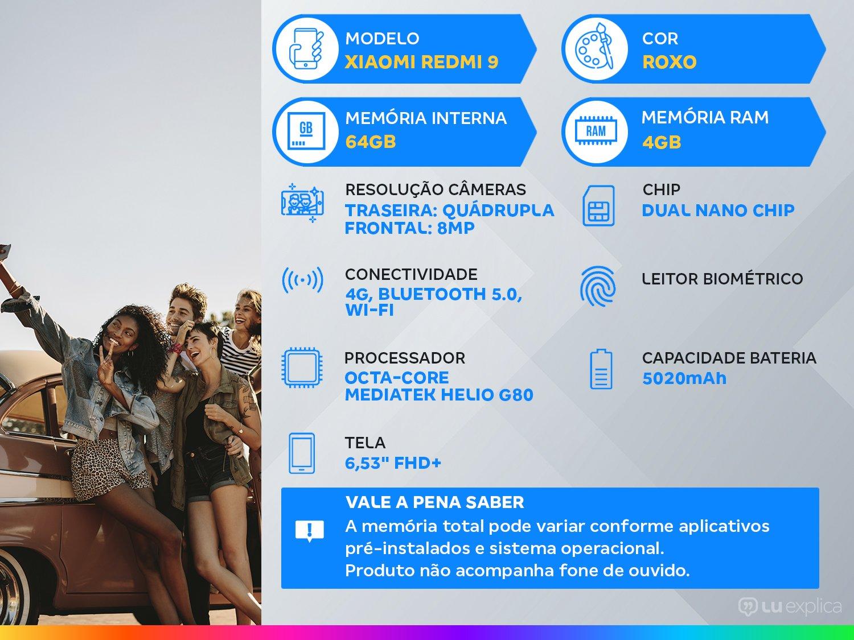 "Smartphone Xiaomi Redmi 9 64GB Roxo 4G Octa-Core - 4GB 6,53"" Câm. Quádrupla + Selfie 8MP - Bivolt - 1"