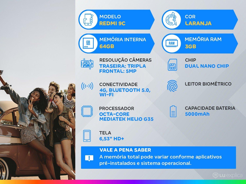"Smartphone Xiaomi Redmi 9C 64GB Laranja 4G Octa - Core 3GB 6,53"" Câm. Tripla + Selfie 5MP Dual Chip - Bivolt - 1"