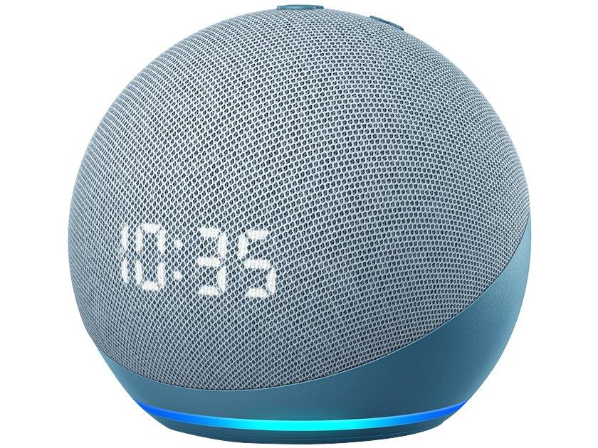 Smart Speaker Amazon Echo Dot 4ª Geração com Relógio e Alexa – Branco - 1