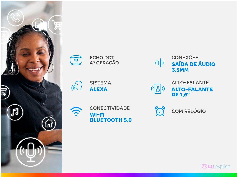 Smart Speaker Amazon Echo Dot 4ª Geração com Relógio e Alexa – Branco - 3