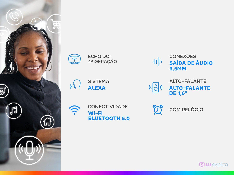 Smart Speaker Amazon Echo Dot 4ª Geração com Relógio e Alexa – Azul - 3