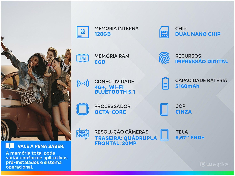 "Smartphone Xiaomi Poco X3 NFC 128GB Cinza - 6GB RAM Tela 6,67"" Câm. Quádrupla + Selfie 20MP - Bivolt - 1"
