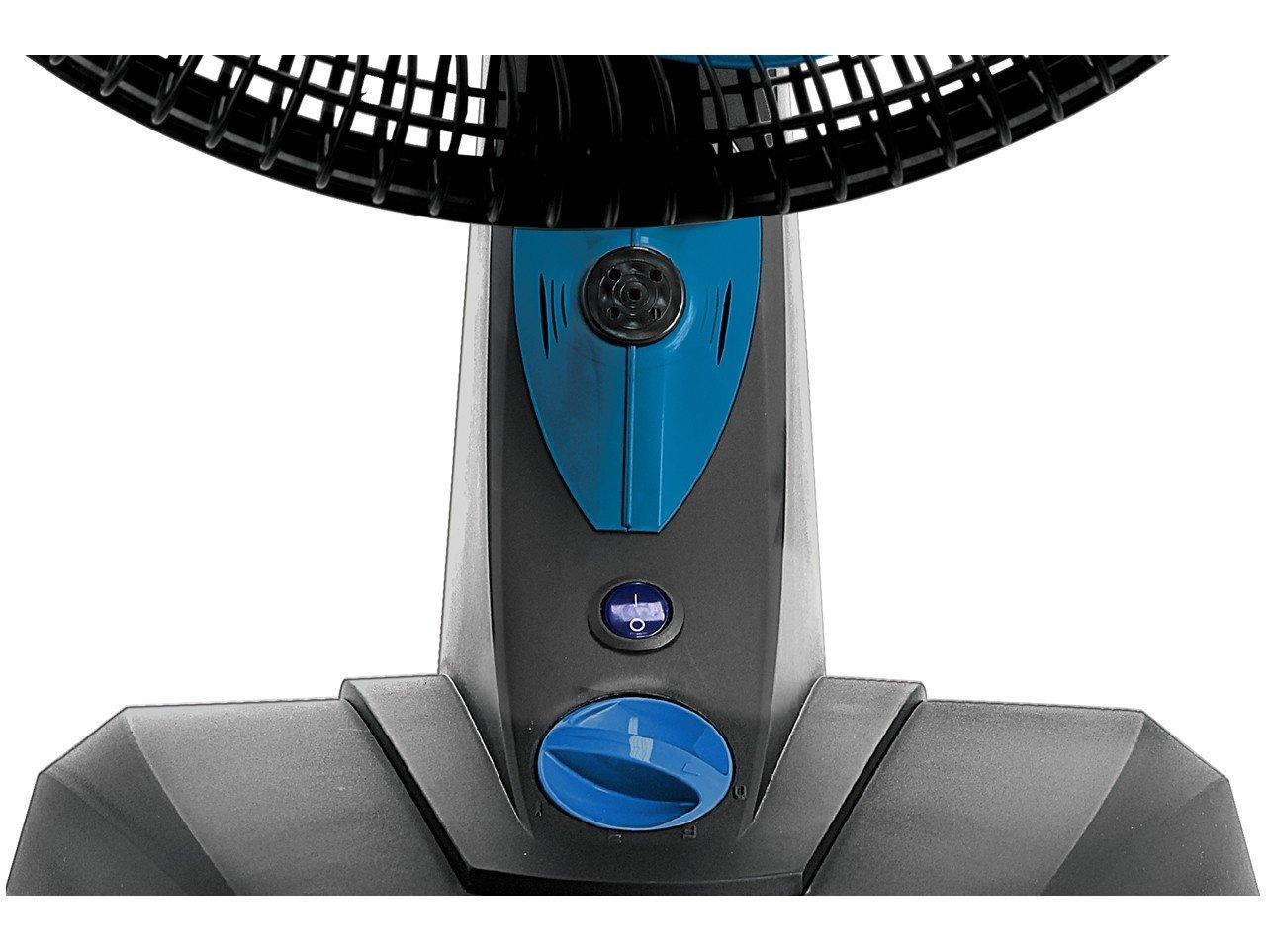 Ventilador de Mesa Mallory Ozônic TS 40cm, 6 Pás, 126W - Preto/Azul - 220V - 6