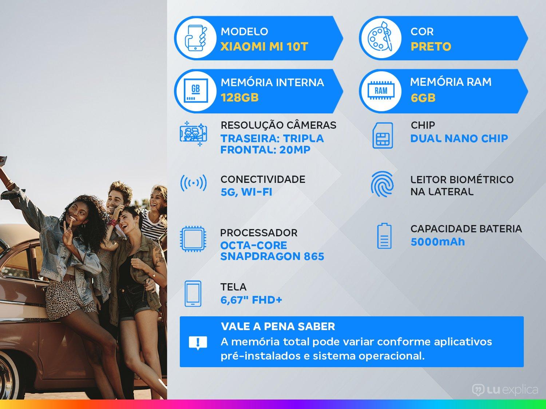 """Smartphone Xiaomi Mi 10T Preto 128GB, Tela de 6,67"""", 5G, 6GB de RAM, Câmera Traseira Tripla, Android 10 e Processador Octa-Core - 3"""