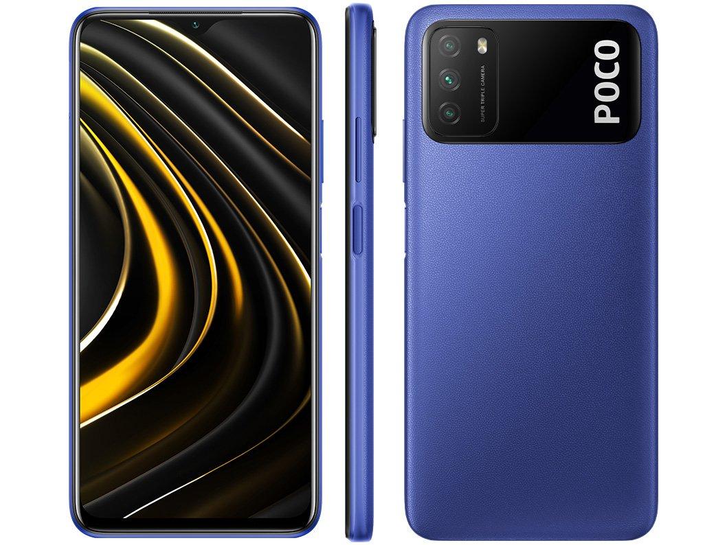 "Smartphone Xiaomi Poco M3 128GB Azul 4G+ 4GB RAM - Octa-Core Tela 6,53"" Câm. Tripla + Selfie 8MP - Bivolt"