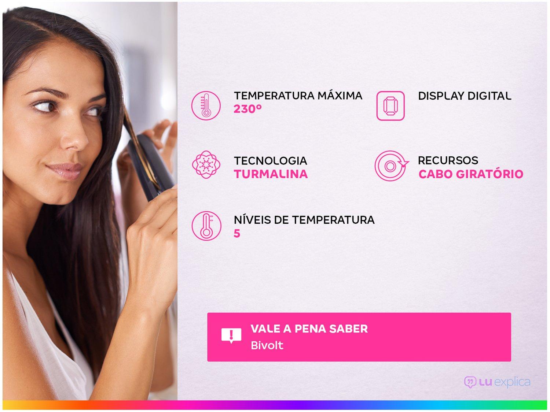 Chapinha | Prancha Philco Titanium PPR10 Chrome Display Digital Bivolt - Rose - 3