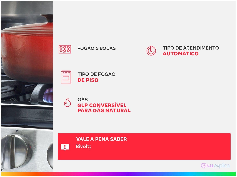Fogão Atlas 5 Bocas Agile Up Glass Bivolt com Trempes Aneladas – Inox - 3
