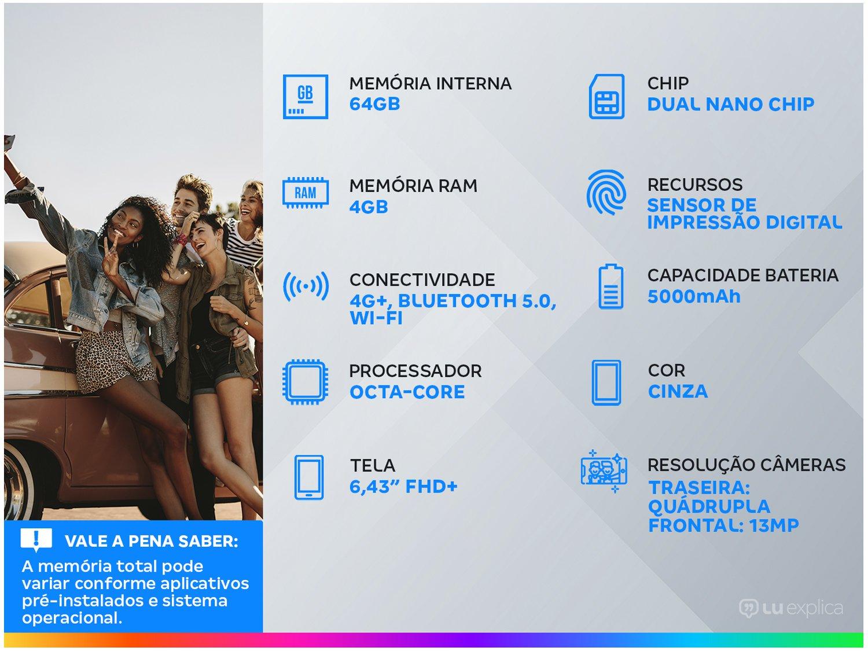 """Smartphone Xiaomi Redmi Note 10 Cinza 64GB, 4GB RAM, Tela de 6.43"""", Câmera Traseira Quádrupla, Android 11 e Processador Octa Core - 3"""