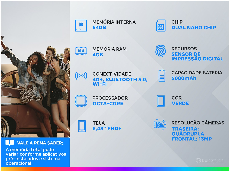"Smartphone Xiaomi Redmi Note 10 64GB Verde 4G - 4GB RAM Tela 6,43"" Câm. Quádrupla + Selfie 13MP - Bivolt - 1"