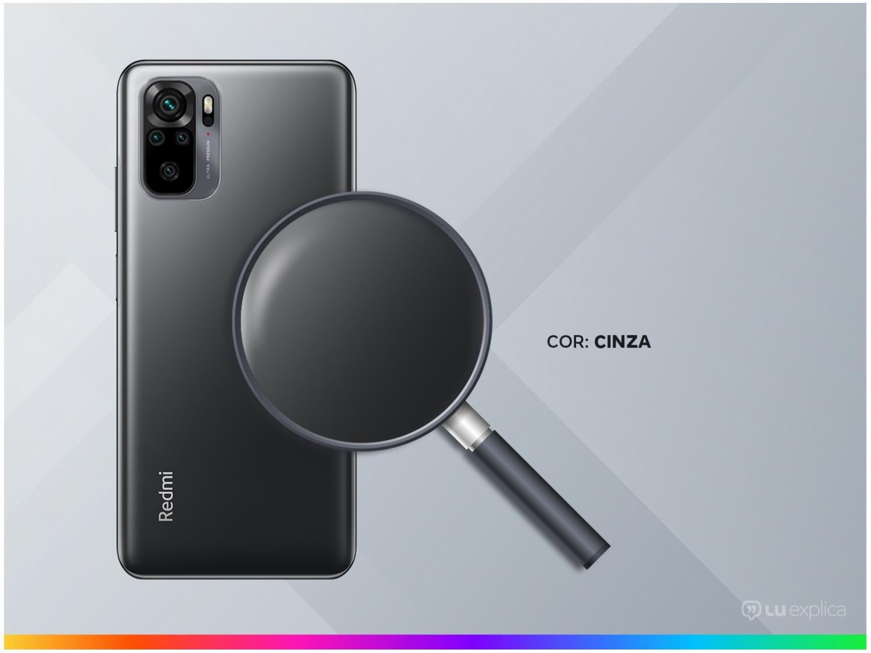 """Smartphone Xiaomi Redmi Note 10 Cinza 128GB, 4GB RAM, Tela de 6.43"""", Câmera Traseira Quádrupla, Android 11 e Processador Octa Core - 5"""