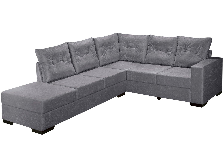 Sofa 3 lugares chaise suede for Sofa 03 lugares com chaise