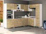 Cozinha Completa Politorno Floripa com Balcão - Nicho para Micro-ondas 17 Portas 3 Gavetas