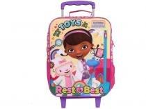 c0b2e478d Mochila Infantil Escolar Feminina de Rodinhas - Tam. G Dermiwil Plus  Doutora Brinquedos Rosa