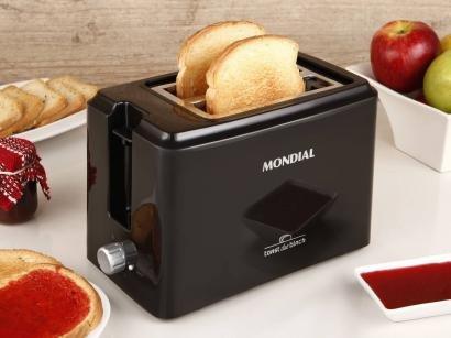 Torradeira Mondial Preta Toast Due Black T-05 - 02 Fatias 06 Níveis de Tostagem