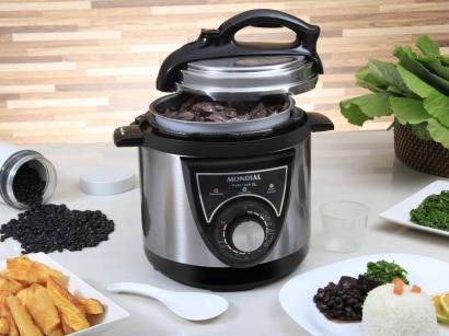 Panela de Pressão Elétrica Mondial Pratic Cook - PE-26 700W 3L Timer Controle...