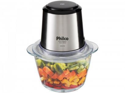 Mini Processador de Alimentos Philco - PPS01I Inox Glass 2 em 1 Copo de Vidro...