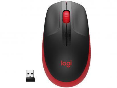 Mouse sem Fio Logitech Óptico 1000DPI 3 Botões - M190 Vermelho
