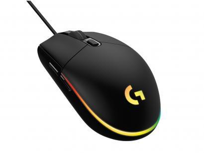 Mouse Gamer Lightsync RGB Logitech Óptico 8000DPI - 6 Botões G203 Preto