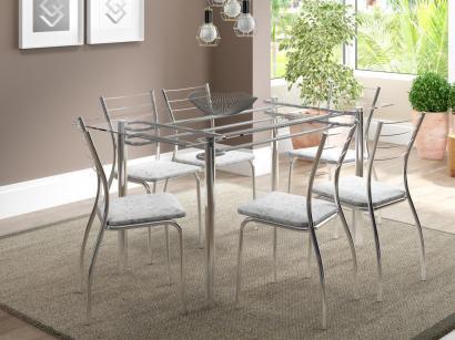 Conjunto de Mesa 6 Cadeiras Móveis Carraro - Iara