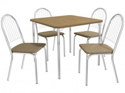 Mesa de Cozinha 4 Cadeiras Quadrada Crome Jade - Kappesberg