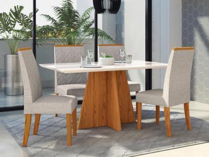 Conjunto de Mesa Madeira com 4 Cadeiras Estofadas - DJ Móveis Parma e Áurea