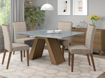 Conjunto de Mesa Madeira com 4 Cadeiras Estofadas - Madesa Vegas