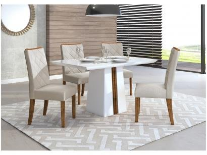 Conjunto de Mesa 4 Cadeiras Estofadas - DJ Móveis Itália