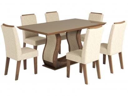 Conjunto de Mesa com 6 Cadeiras Estofadas - Viero Móveis Valência
